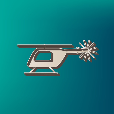 Helicopter sign illustration. Vector. Icon printed at 3d on sea color background.