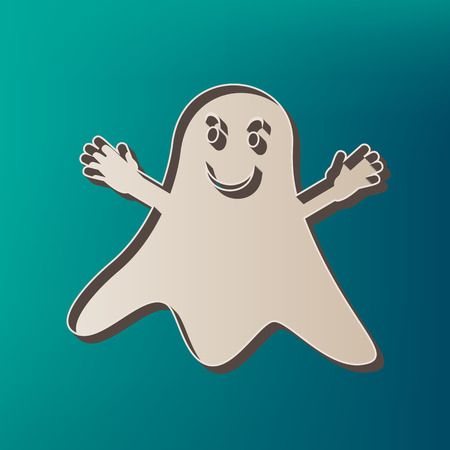 Ghost isolated sign. Vector. Icon printed at 3d on sea color background.
