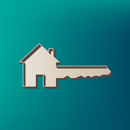 Home Key sign. Vector. Icon printed at 3d on sea color background.