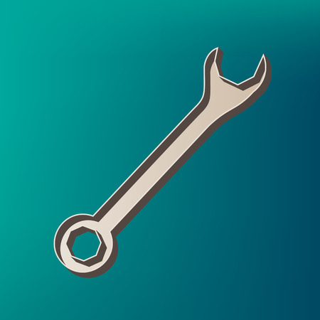 Crossed wrenches sign. Vector. Icon printed at 3d on sea color background.
