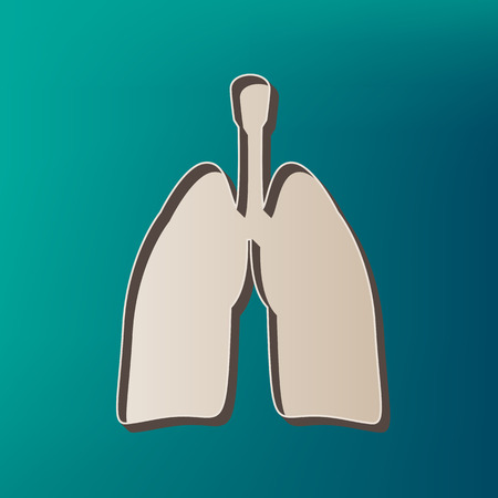 Human organs Lungs sign. Vector. Icon printed at 3d on sea color background. Illustration