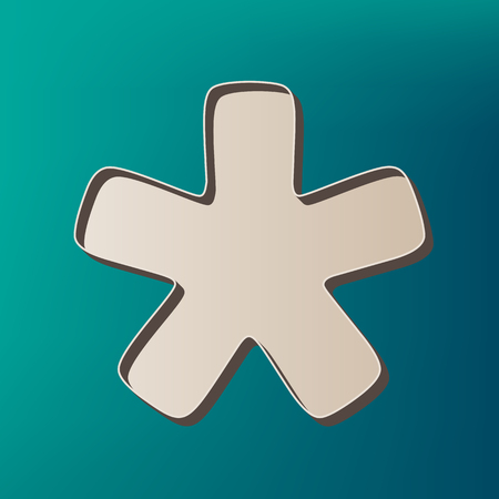 reference point: Asterisk star sign. Vector. Icon printed at 3d on sea color background.