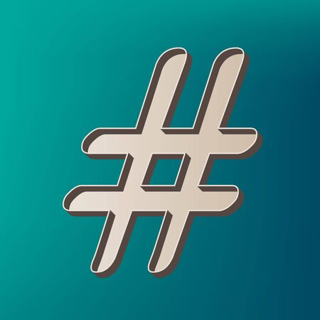 Hashtag sign illustration. Vector. Icon printed at 3d on sea color background. Illustration