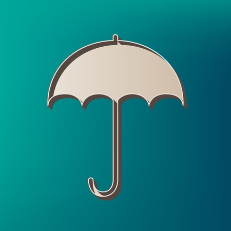 keyword: Umbrella sign icon. Rain protection symbol. Flat design style. Vector. Icon printed at 3d on sea color background.