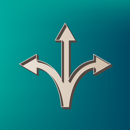Three-way direction arrow sign. Vector. Icon printed at 3d on sea color background.