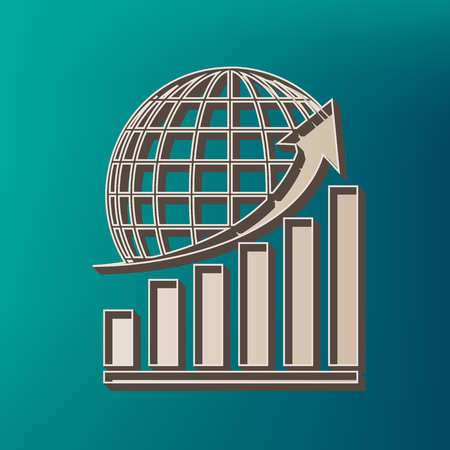 Growing graph with earth. Vector. Icon printed at 3d on sea color background.