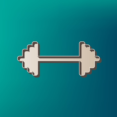 Dumbbell weights sign. Vector. Icon printed at 3d on sea color background. Illustration
