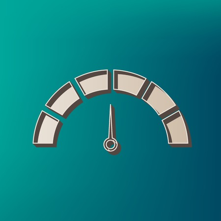 Speedometer sign illustration. Vector. Icon printed at 3d on sea color background.