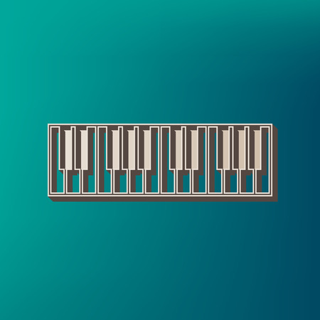 Piano Keyboard sign. Vector. Icon printed at 3d on sea color background.