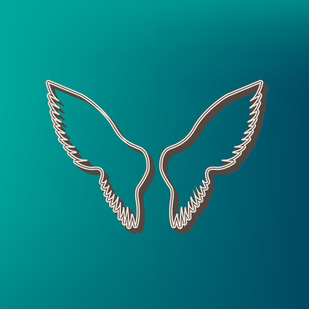 Wings sign illustration. Vector. Icon printed at 3d on sea color background. Illustration