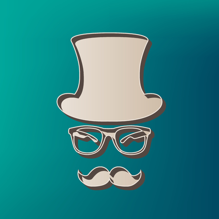 Hipster accessories design. Vector. Icon printed at 3d on sea color background. Illustration