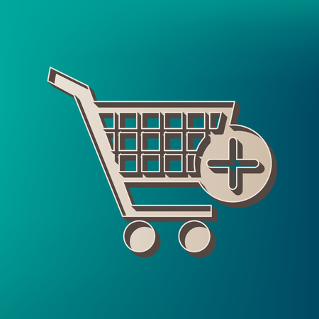 Shopping Cart with add Mark sign. Vector. Icon printed at 3d on sea color background.