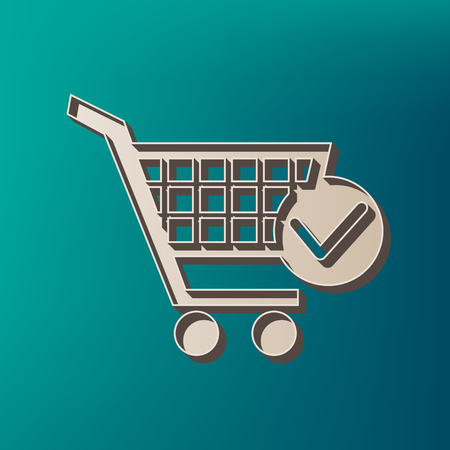 Shopping Cart with Check Mark sign. Vector. Icon printed at 3d on sea color background. Illustration