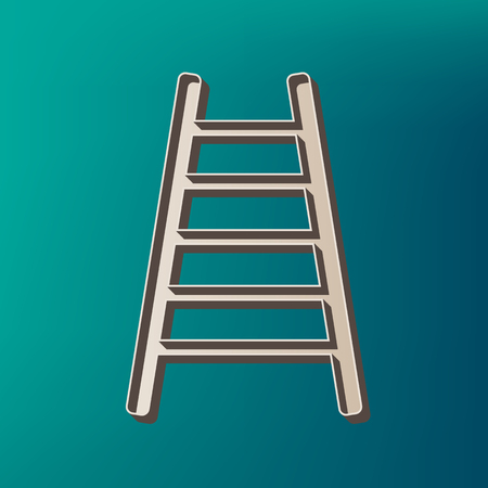 Ladder sign illustration. Vector. Icon printed at 3d on sea color background.