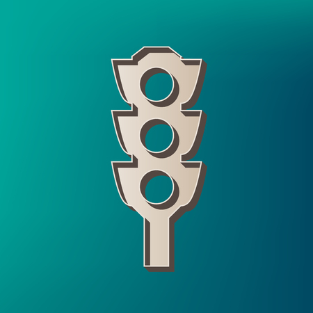 Traffic light sign. Vector. Icon printed at 3d on sea color background.