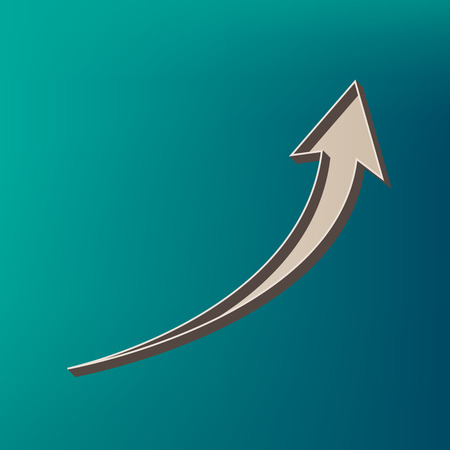 Growing arrow sign. Vector. Icon printed at 3d on sea color background. Illustration