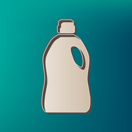 antiseptic: Plastic bottle for cleaning. Vector. Icon printed at 3d on sea color background.