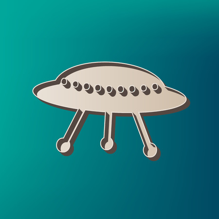 UFO simple sign. Vector. Icon printed at 3d on sea color background. Illustration