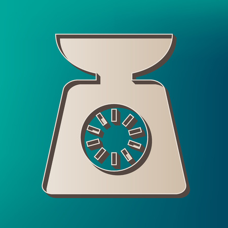 Kitchen scales sign. Vector. Icon printed at 3d on sea color background. Illustration