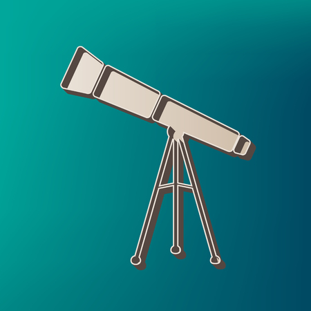 Telescope simple sign. Vector. Icon printed at 3d on sea color background.