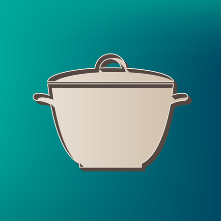 Saucepan simple sign. Vector. Icon printed at 3d on sea color background.