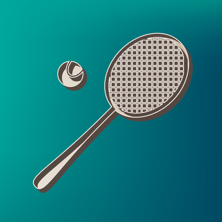 Tennis racquet sign. Vector. Icon printed at 3d on sea color background. Illustration