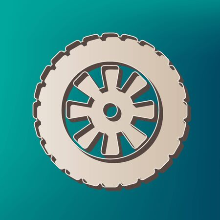Road tire sign. Vector. Icon printed at 3d on sea color background.