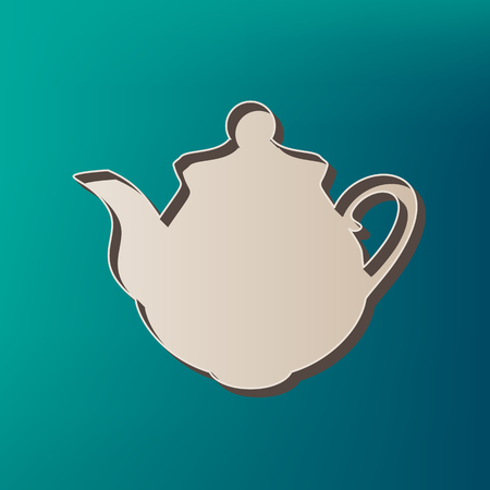 Tea maker Kitchen sign. Vector. Icon printed at 3d on sea color background. Illustration