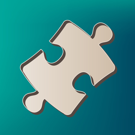 Puzzle piece sign. Vector. Icon printed at 3d on sea color background.