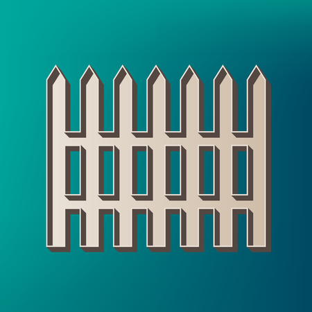 dissociation: Fence simple sign. Vector. Icon printed at 3d on sea color background.