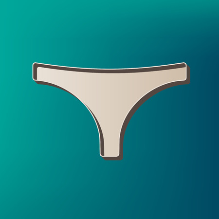 women s clothes: Womens panties sign. Vector. Icon printed at 3d on sea color background. Illustration
