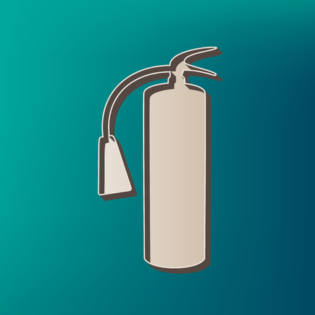 Fire extinguisher sign. Vector. Icon printed at 3d on sea color background.