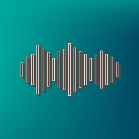 Sound waves icon. Vector. Icon printed at 3d on sea color background.
