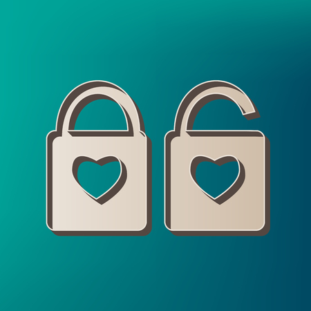 door lock love: lock sign with heart shape. A simple silhouette of the lock. Shape of a heart. Vector. Icon printed at 3d on sea color background.