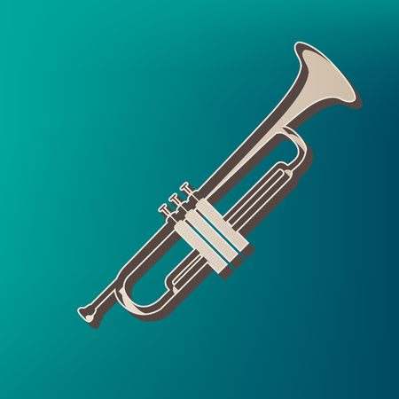 Musical instrument Trumpet sign. Vector. Icon printed at 3d on sea color background.