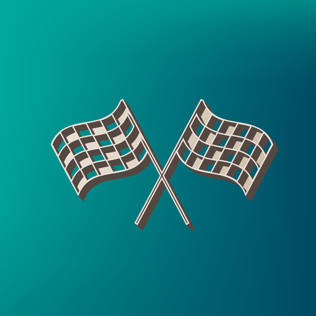 Crossed checkered flags logo waving in the wind conceptual of motor sport. Vector. Icon printed at 3d on sea color background. Illustration
