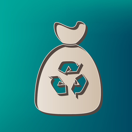 Trash bag icon. Vector. Icon printed at 3d on sea color background. Illustration