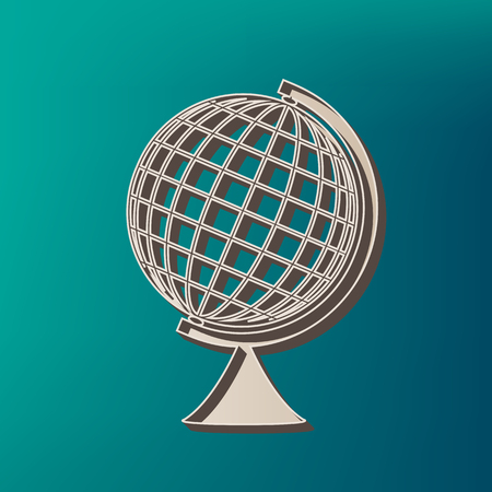Earth Globe sign. Vector. Icon printed at 3d on sea color background.