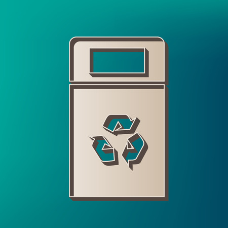 trashing: Trashcan sign illustration. Vector. Icon printed at 3d on sea color background.