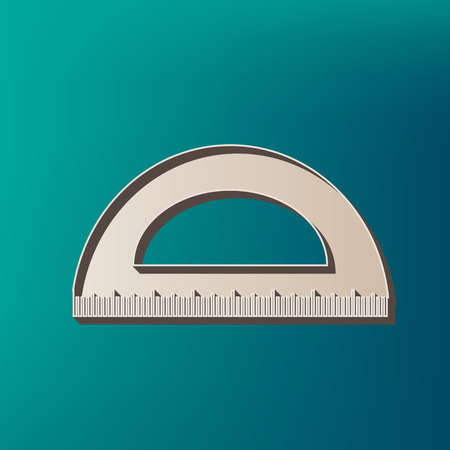 Ruler sign illustration. Vector. Icon printed at 3d on sea color background. Illustration