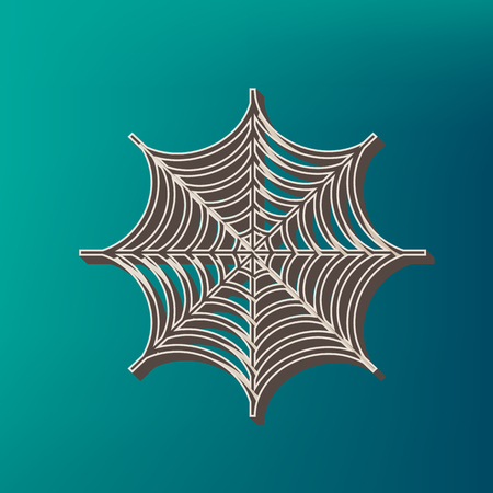 Spider on web illustration. Vector. Icon printed at 3d on sea color background.