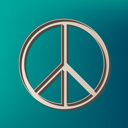 Peace sign illustration. Vector. Icon printed at 3d on sea color background. Illustration