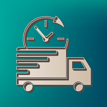 semitruck: Delivery sign illustration. Vector. Icon printed at 3d on sea color background. Illustration