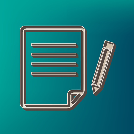 Paper and pencil sign. Vector. Icon printed at 3d on sea color background. Illustration