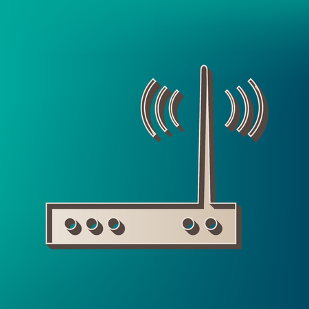 public domain: Wifi modem sign. Vector. Icon printed at 3d on sea color background.