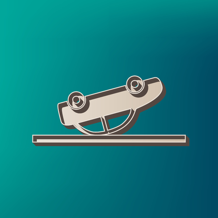 Crashed Car sign. Vector. Icon printed at 3d on sea color background.