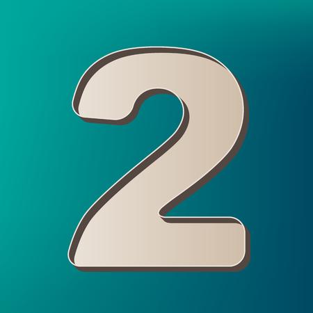 Number 2 sign design template elements. Vector. Icon printed at 3d on sea color background. Ilustração