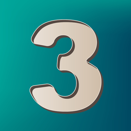 Number 3 sign design template element. Vector. Icon printed at 3d on sea color background.