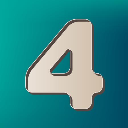 Number 4 sign design template element. Vector. Icon printed at 3d on sea color background. Ilustração