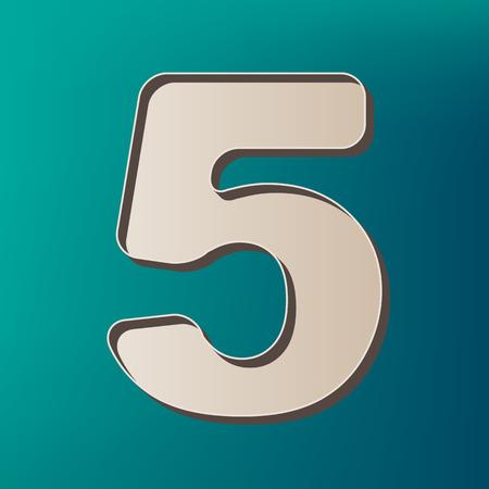 Number 5 sign design template element. Vector. Icon printed at 3d on sea color background. Ilustração